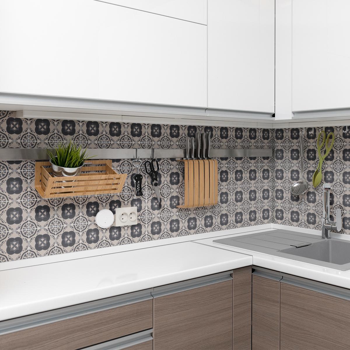 30 stickers carreaux de ciment azulejos porfirio cuisine carrelages ambiance sticker. Black Bedroom Furniture Sets. Home Design Ideas