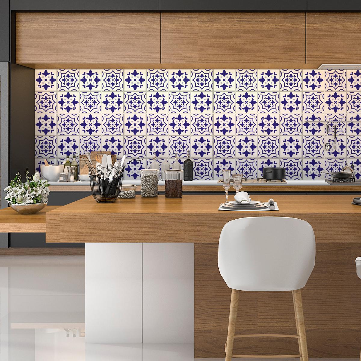 30 stickers carreaux de ciment azulejos sancho salle de - Azulejos salon ...