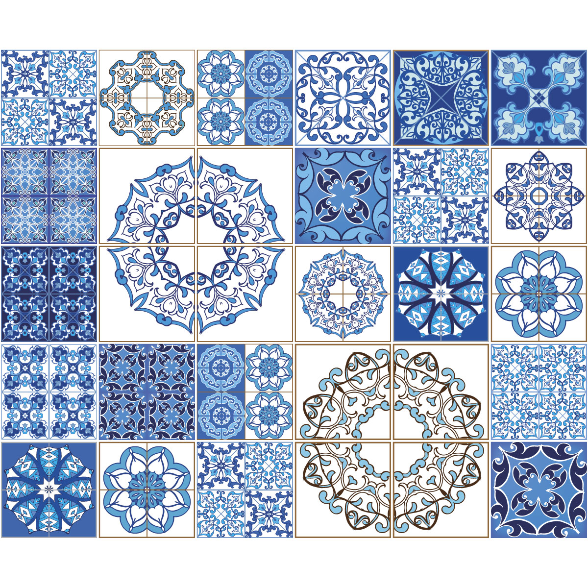 30 stickers carreaux de ciment azulejos venere salle de bain mur salle de bain ambiance sticker. Black Bedroom Furniture Sets. Home Design Ideas
