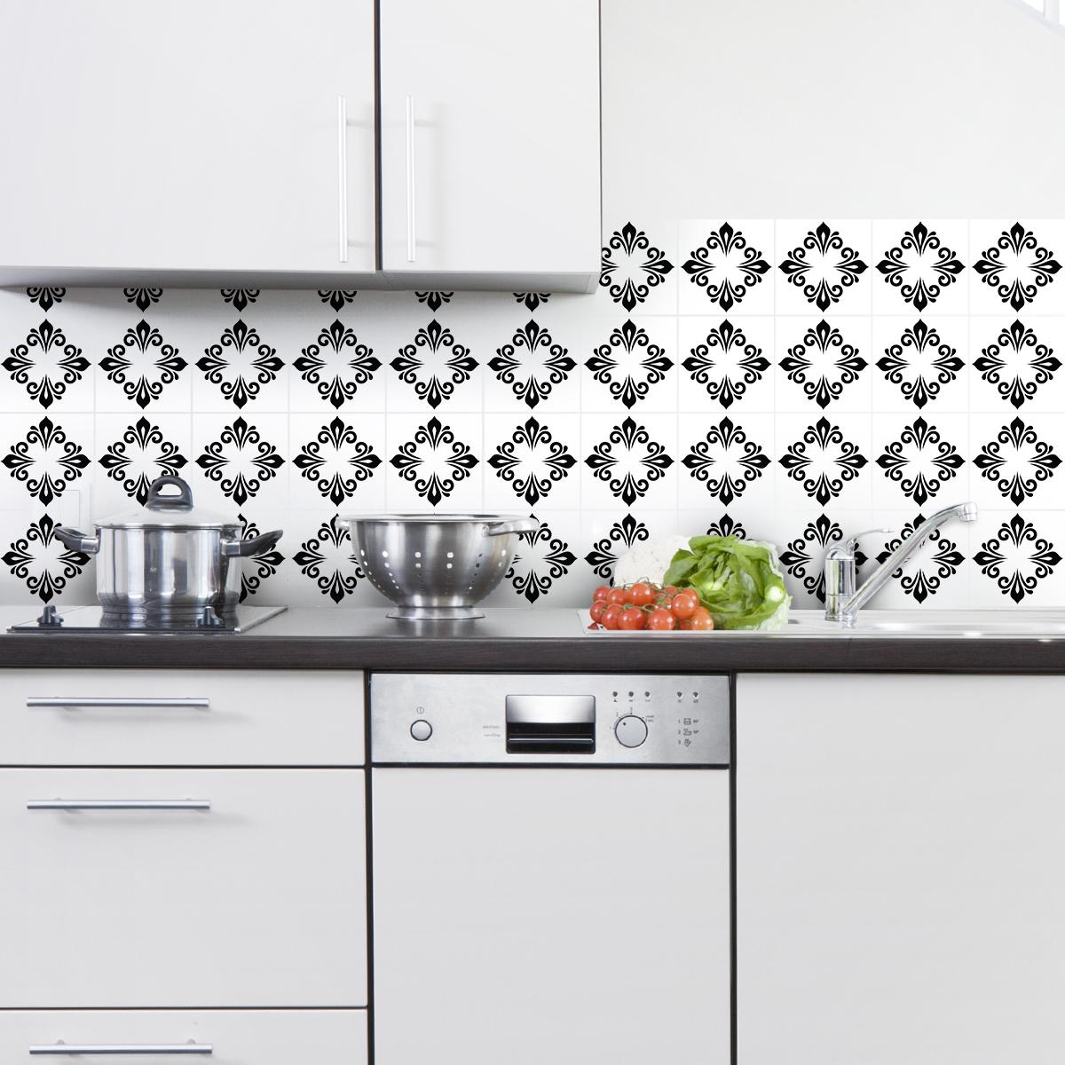 30 stickers carreaux de ciment boh me kieli cuisine. Black Bedroom Furniture Sets. Home Design Ideas