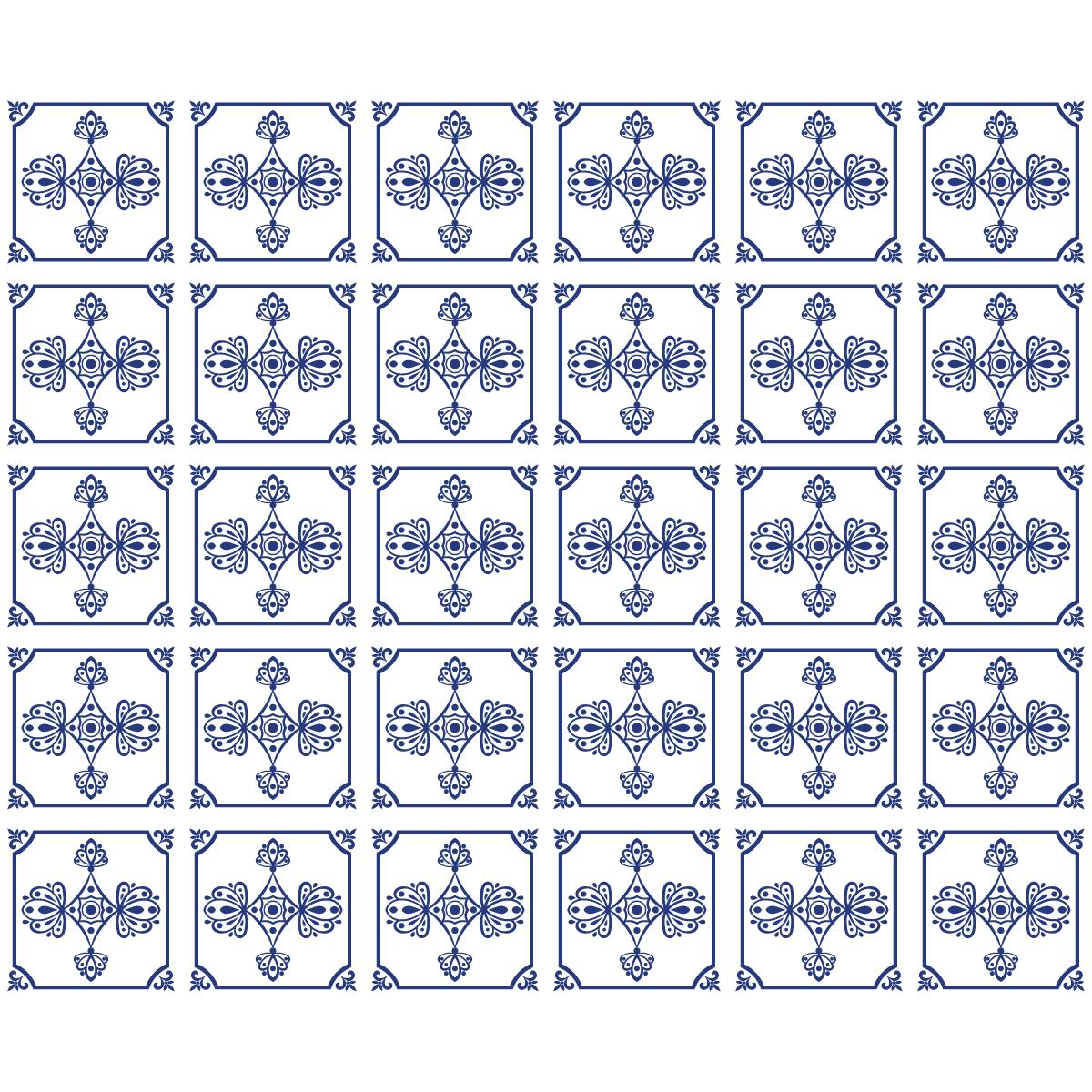 30 stickers carreaux de ciment delft salle de bain et wc salle de bain ambiance sticker - Stickers muraux carreaux de ciment ...