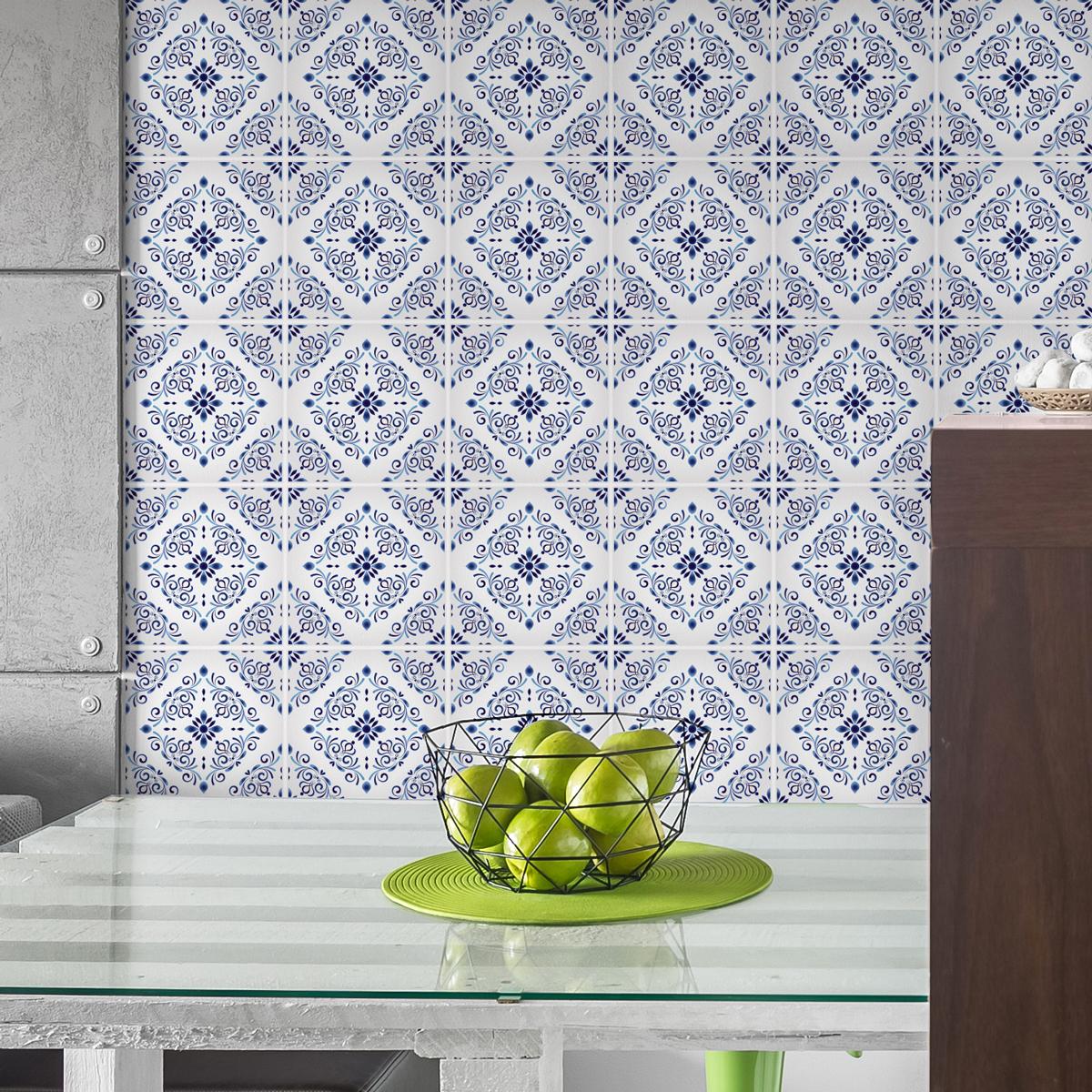 30 stickers carreaux de ciment delft d sseldorf cuisine carrelages ambiance sticker. Black Bedroom Furniture Sets. Home Design Ideas