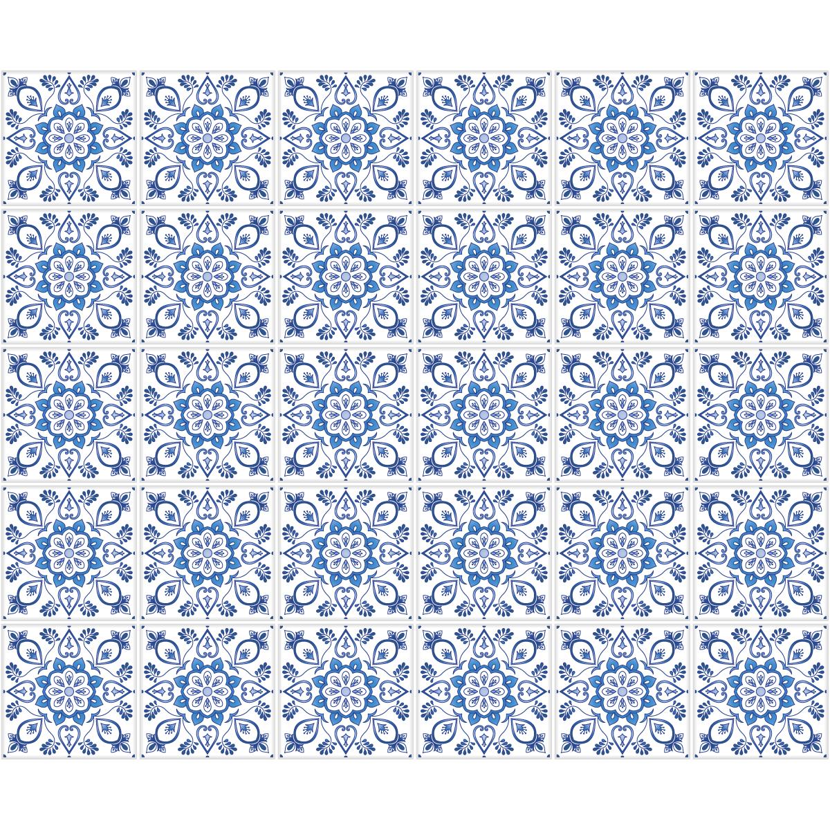 30 stickers carreaux de ciment delft haarlem cuisine for Stickers carreaux de ciment 20x20