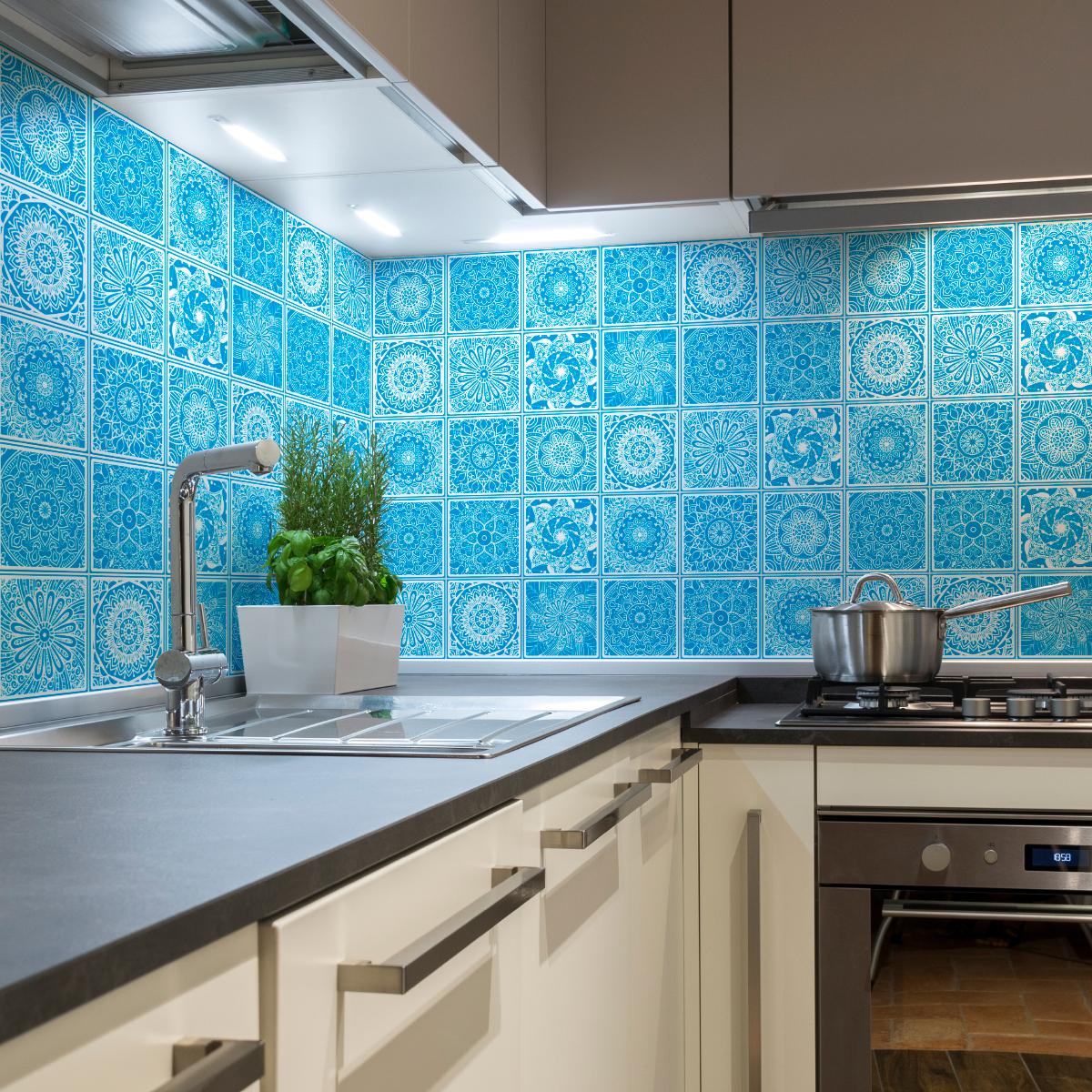 30 stickers carreaux de ciment ethnique kaliska cuisine carrelages ambiance sticker. Black Bedroom Furniture Sets. Home Design Ideas