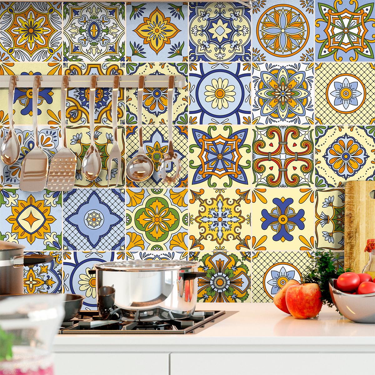 30 stickers carreaux de ciment genoa salle de bain et wc salle de bain ambiance sticker. Black Bedroom Furniture Sets. Home Design Ideas
