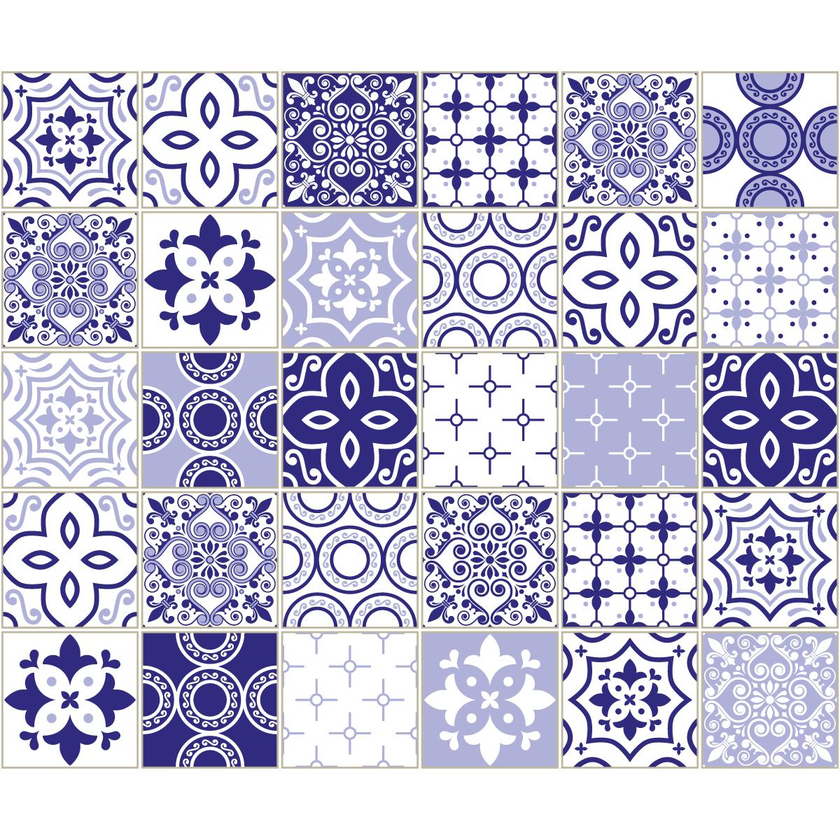 30 stickers carreaux de ciment mykonos salle de bain et wc salle de bain ambiance sticker. Black Bedroom Furniture Sets. Home Design Ideas