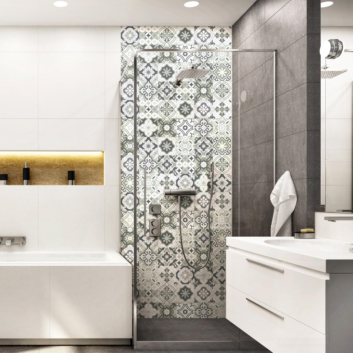 30 stickers carreaux de ciment nuances de gris oslo for Stickers carreaux salle de bain