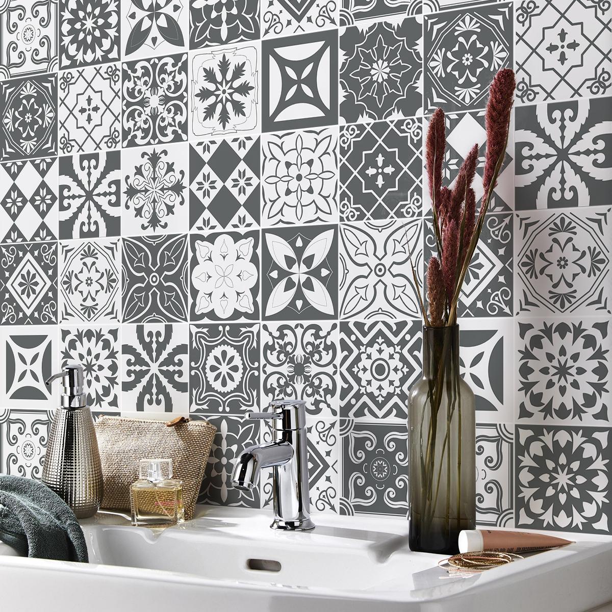 30 stickers carreaux de ciment nuances de gris varsovie salle de bain et wc salle de bain. Black Bedroom Furniture Sets. Home Design Ideas