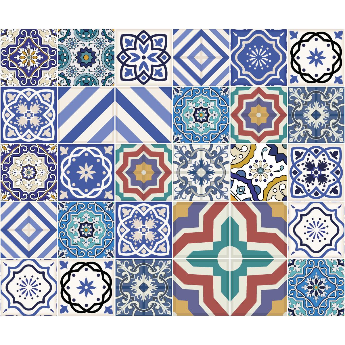 30 stickers carrelages azulejos elettra salle de bain et wc salle de bain ambiance sticker. Black Bedroom Furniture Sets. Home Design Ideas