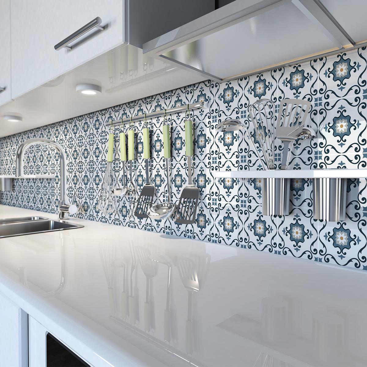 30 stickers carrelages azulejos gaeticia cuisine - Stickers cuisine carrelage ...