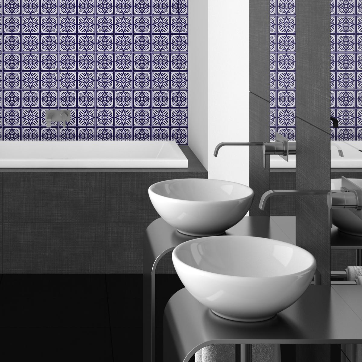 30 stickers carrelages azulejos gonzalo salle de bain et wc salle de bain ambiance sticker. Black Bedroom Furniture Sets. Home Design Ideas