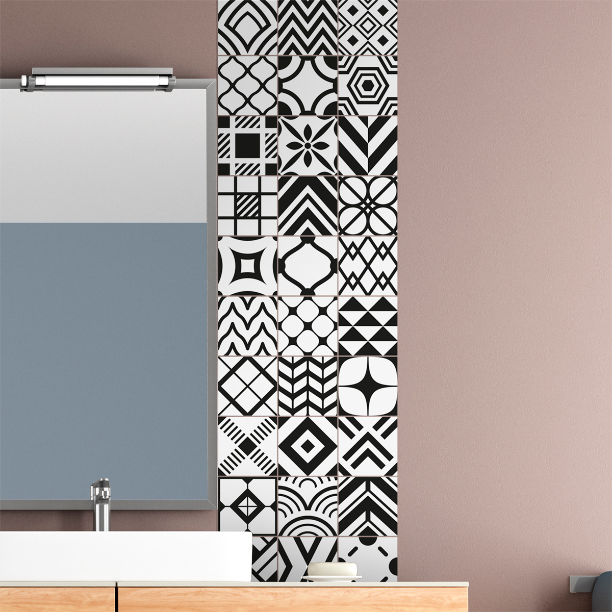 30 stickers carrelages scandinave glasgow salle de bain. Black Bedroom Furniture Sets. Home Design Ideas