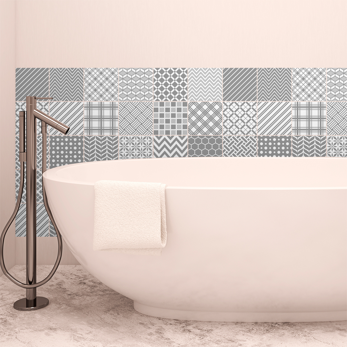 30 stickers carrelages scandinave goteborg salle de bain for Carrelage salle de bain scandinave