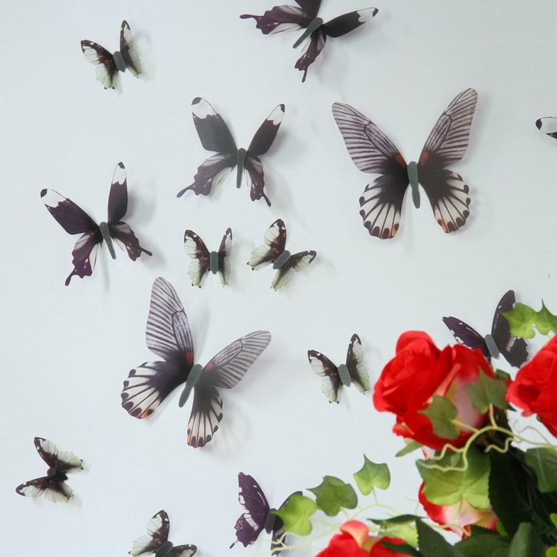 stickers muraux kit de 18 s papillons 3d bleus ambiance. Black Bedroom Furniture Sets. Home Design Ideas