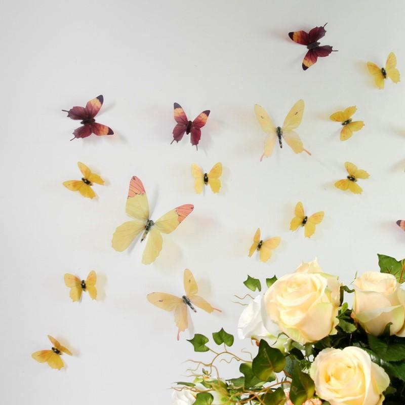 stickers muraux papillons 3d jaunes 18 stickers papillons 3d fid le la vie ambiance. Black Bedroom Furniture Sets. Home Design Ideas
