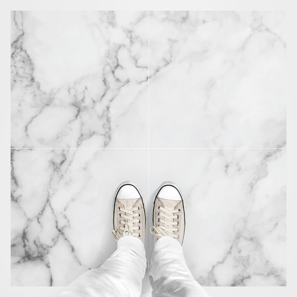 4 stickers sol carreaux de ciment marbre blanc anti. Black Bedroom Furniture Sets. Home Design Ideas
