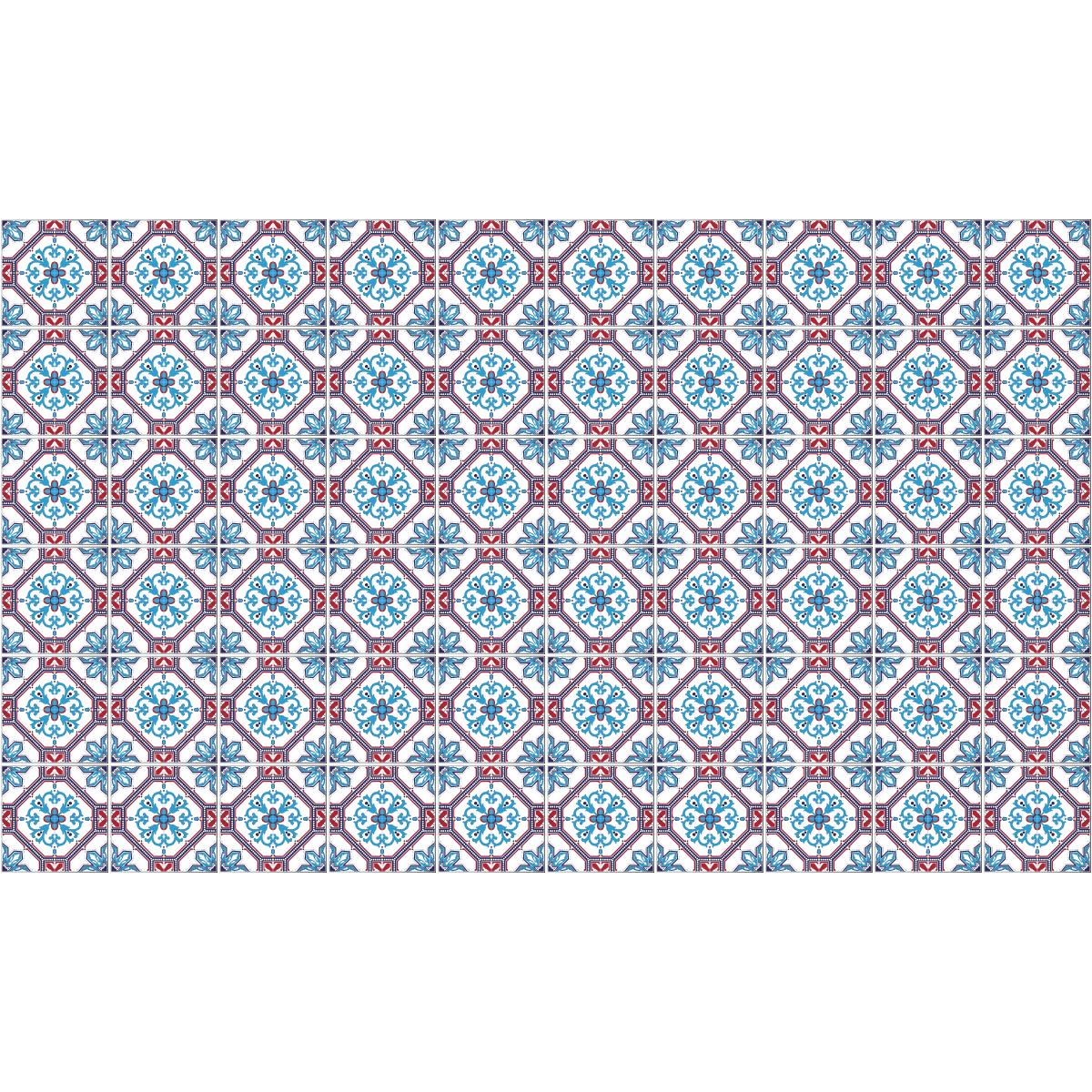 60 stickers carreaux de ciment azulejos aletha cuisine. Black Bedroom Furniture Sets. Home Design Ideas