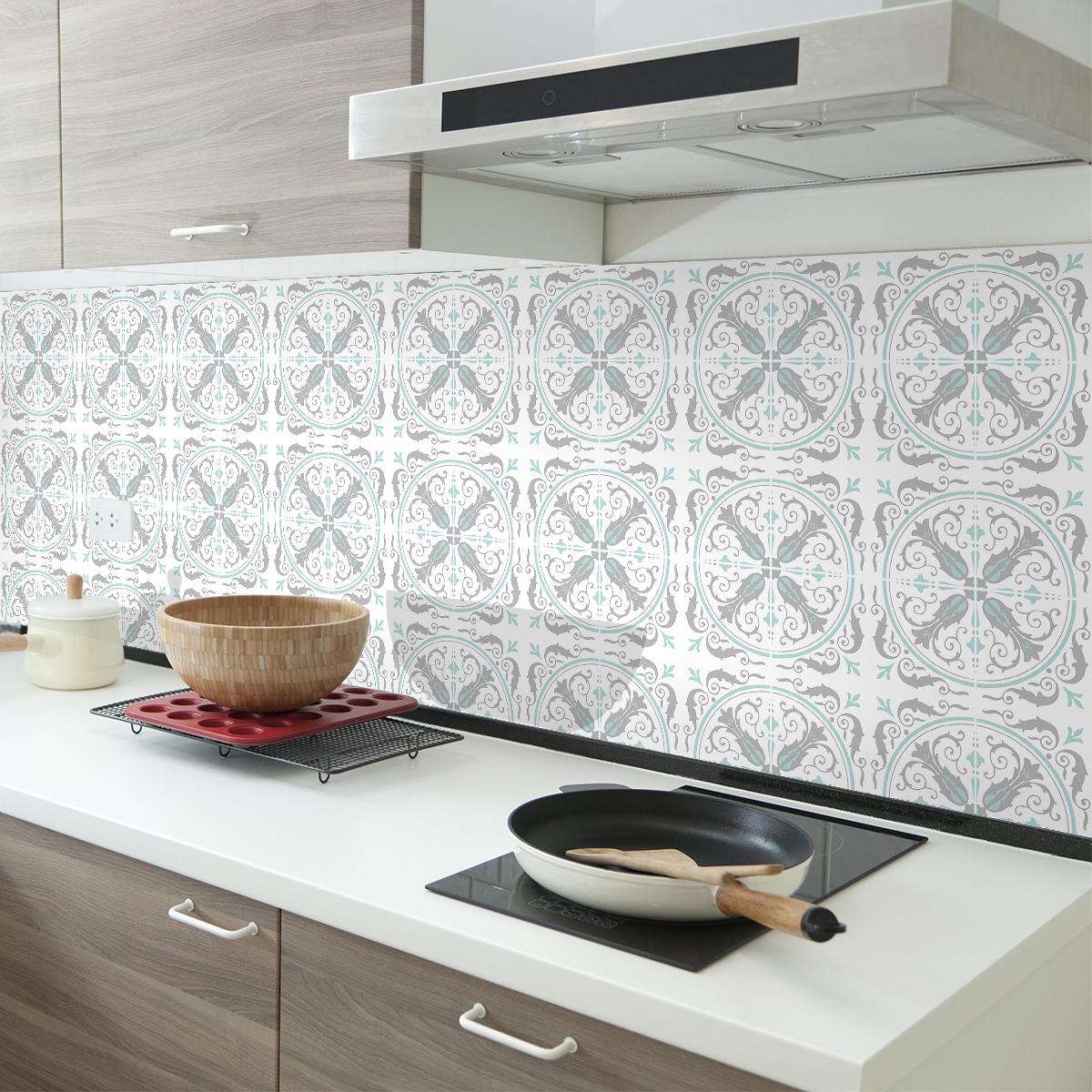 60 stickers carreaux de ciment azulejos amanda cuisine. Black Bedroom Furniture Sets. Home Design Ideas
