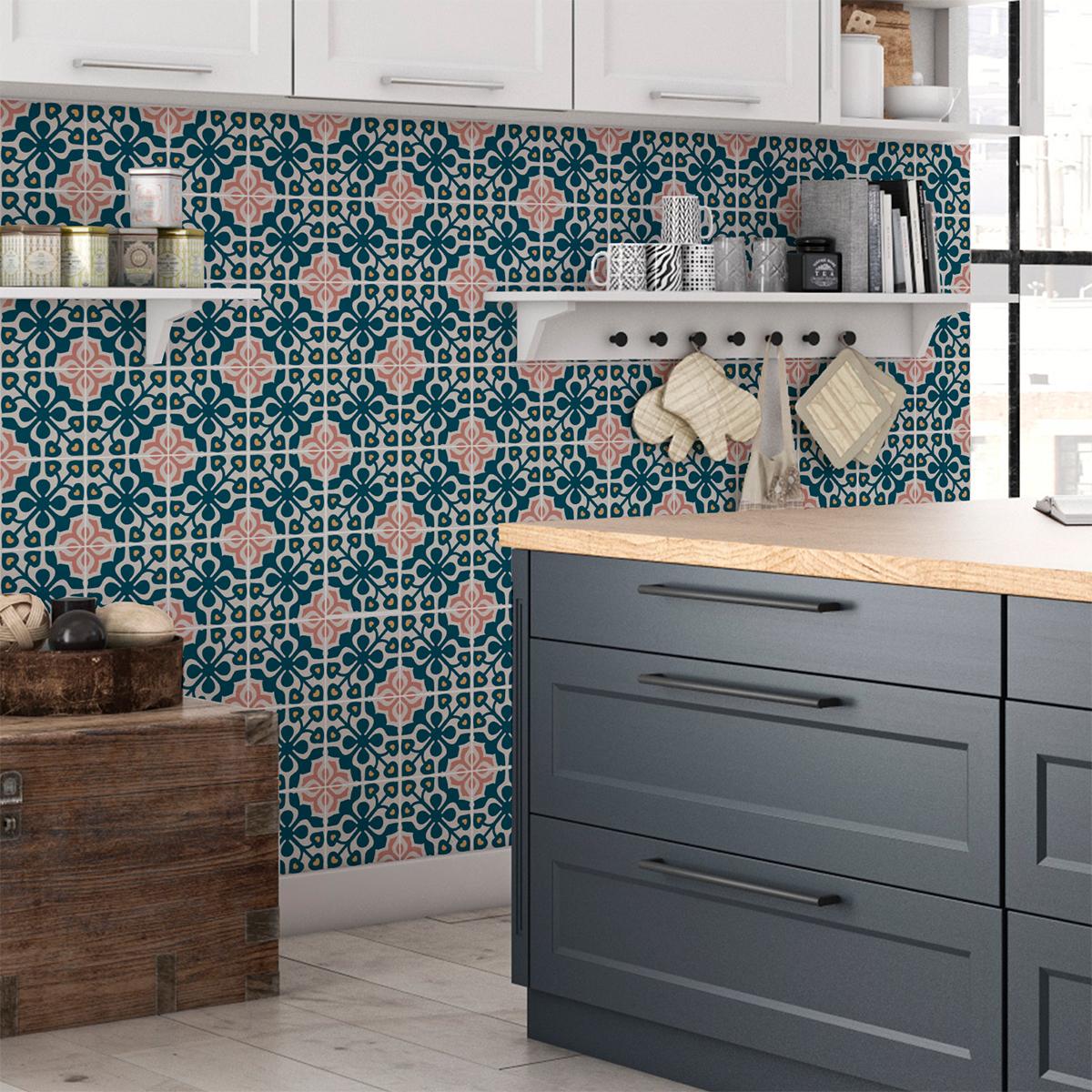 60 stickers carreaux de ciment azulejos apollo cuisine. Black Bedroom Furniture Sets. Home Design Ideas