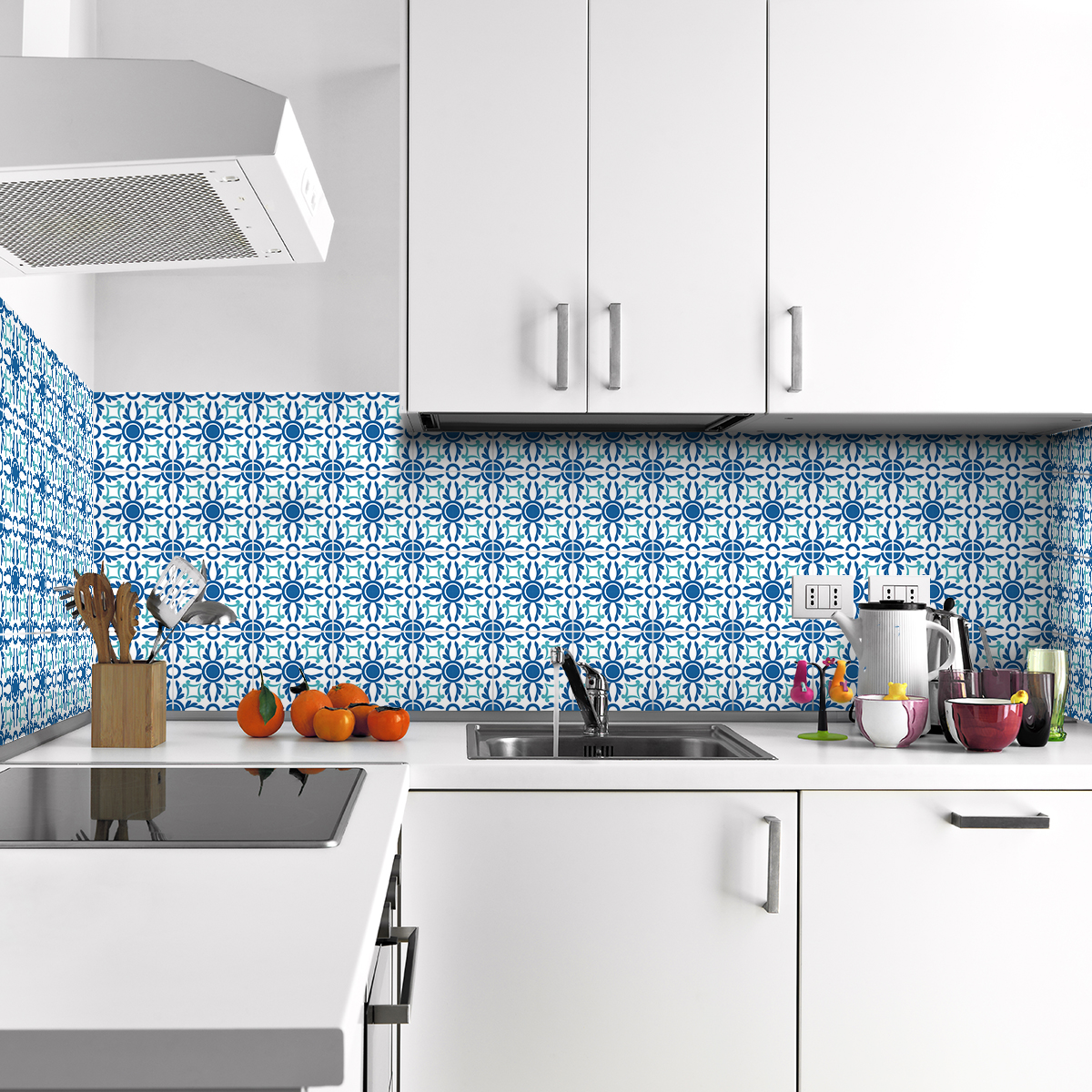 60 stickers carreaux de ciment azulejos calla cuisine for Stickers carrelage cuisine 15x15
