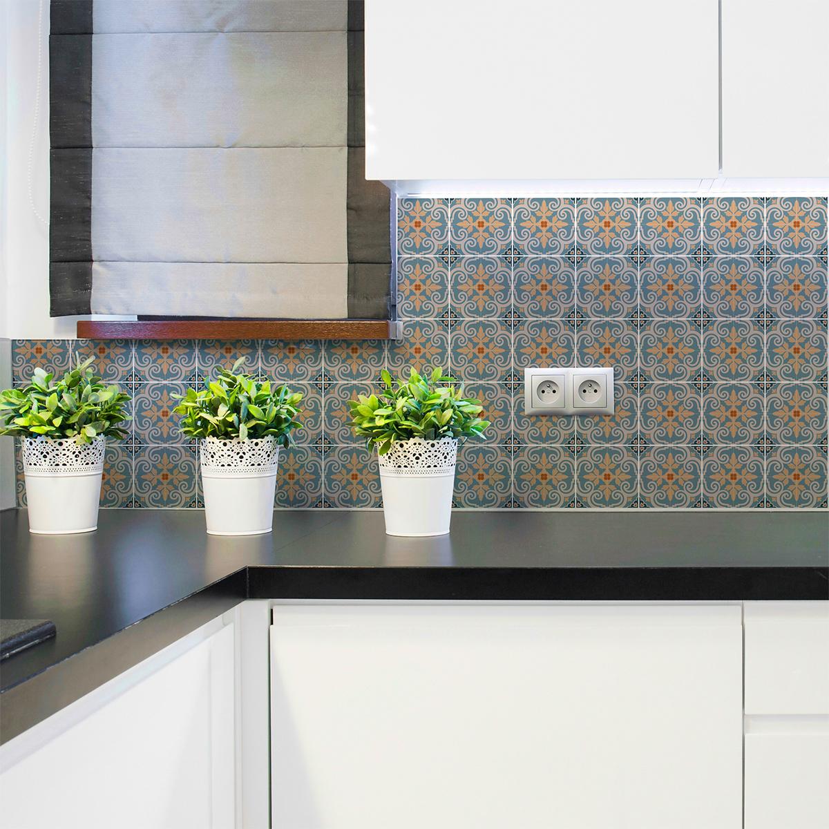 60 stickers carreaux de ciment azulejos dorena cuisine. Black Bedroom Furniture Sets. Home Design Ideas