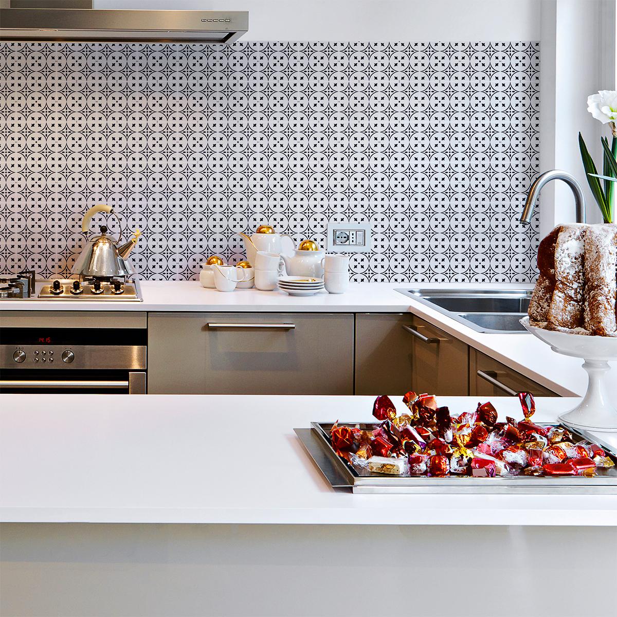 60 stickers carreaux de ciment azulejos elisa cuisine for Stickers carreaux cuisine