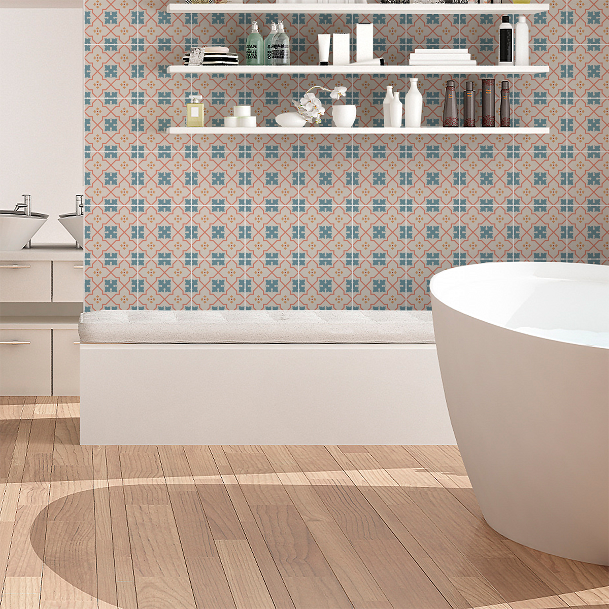 60 stickers carreaux de ciment azulejos enora cuisine. Black Bedroom Furniture Sets. Home Design Ideas