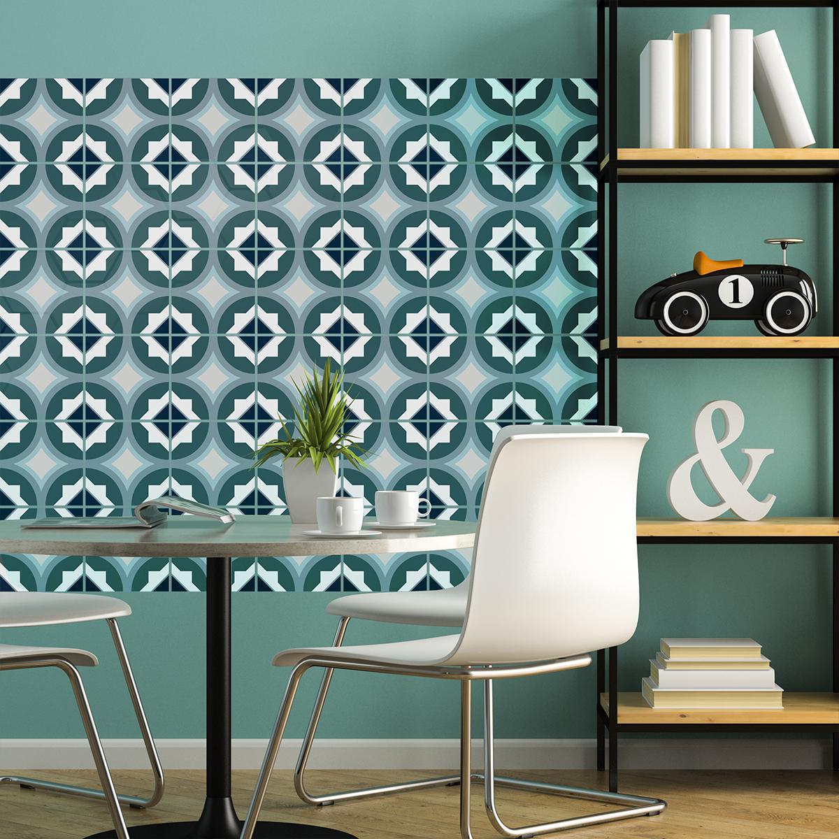60 stickers carreaux de ciment azulejos estela cuisine. Black Bedroom Furniture Sets. Home Design Ideas