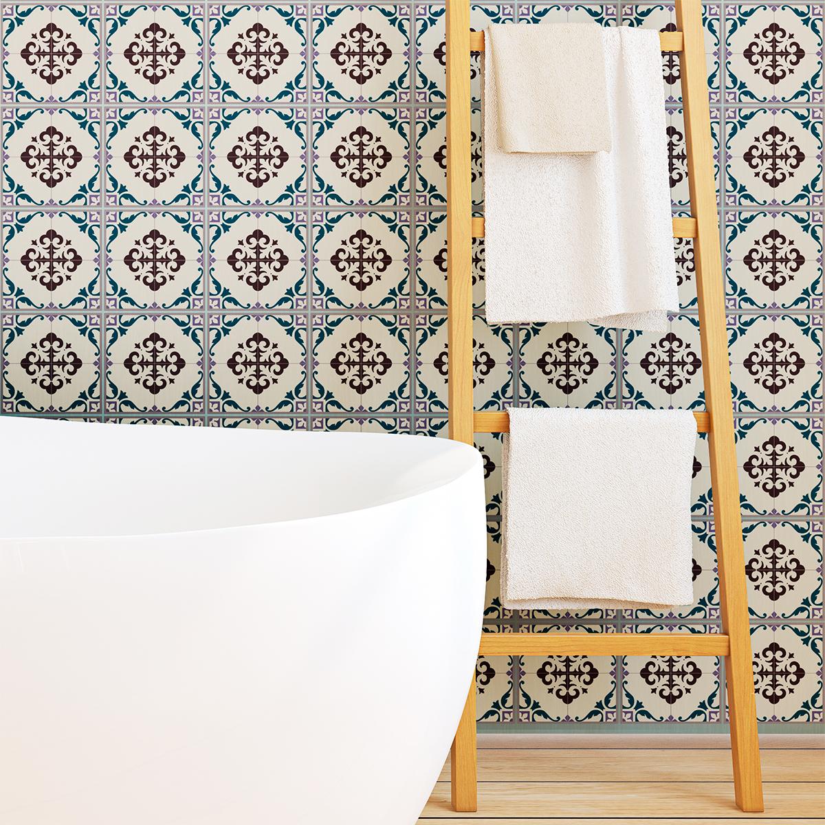 60 stickers carreaux de ciment azulejos gergeli cuisine. Black Bedroom Furniture Sets. Home Design Ideas