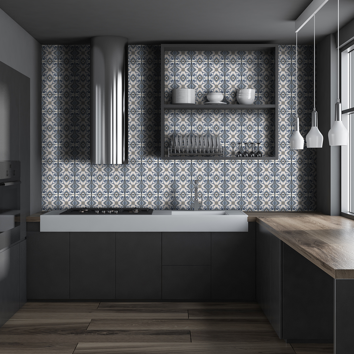 60 stickers carreaux de ciment azulejos lo lina cuisine. Black Bedroom Furniture Sets. Home Design Ideas