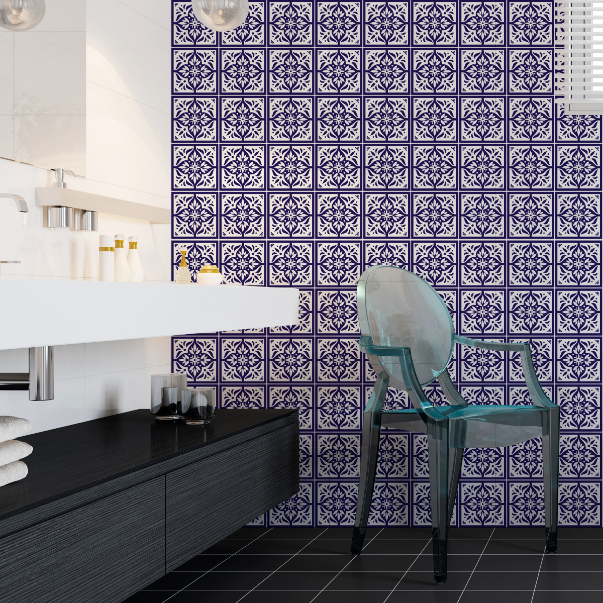 60 stickers carreaux de ciment azulejos lorenzo salle de bain et wc salle de bain ambiance. Black Bedroom Furniture Sets. Home Design Ideas