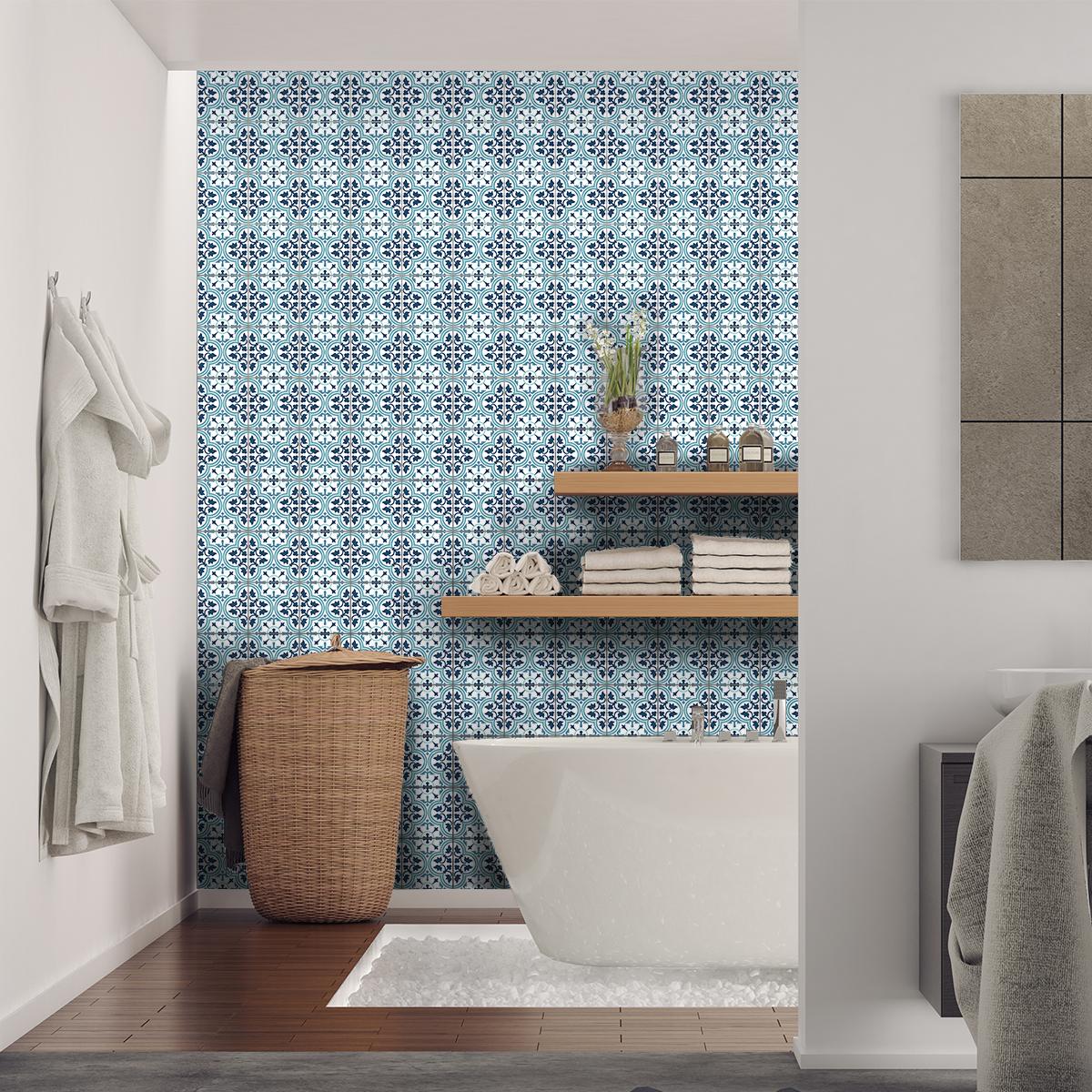 60 stickers carreaux de ciment azulejos loreto cuisine carrelages ambiance sticker. Black Bedroom Furniture Sets. Home Design Ideas