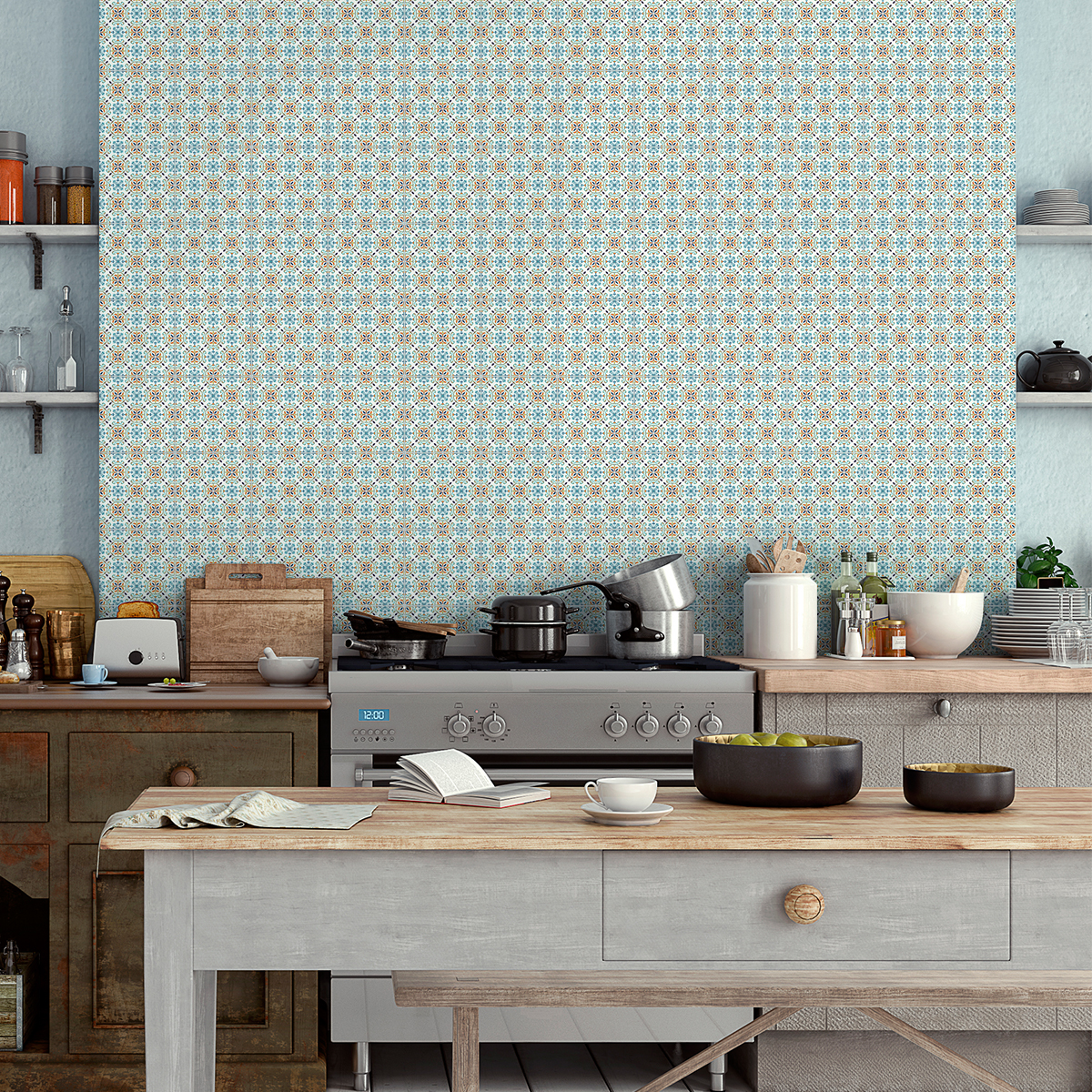 60 stickers carreaux de ciment azulejos mariano cuisine. Black Bedroom Furniture Sets. Home Design Ideas