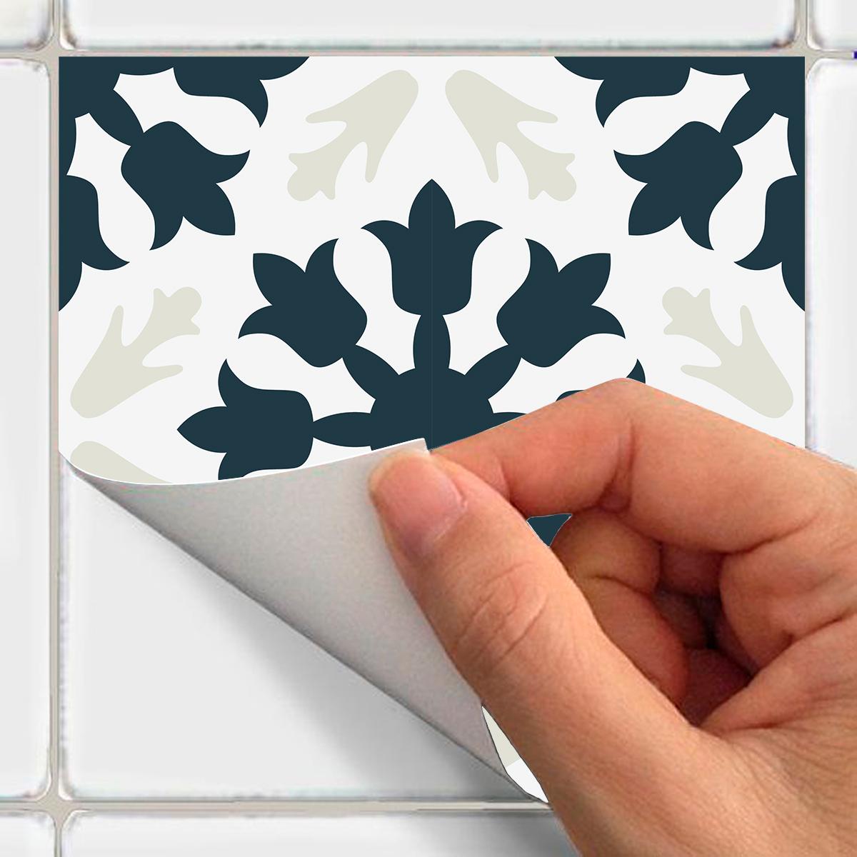 60 stickers carreaux de ciment azulejos meli cuisine. Black Bedroom Furniture Sets. Home Design Ideas