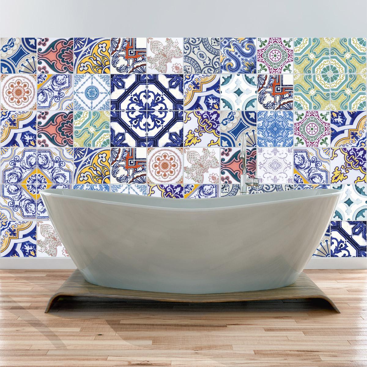 60 stickers carreaux de ciment azulejos multicolores l gants art et design artistiques. Black Bedroom Furniture Sets. Home Design Ideas