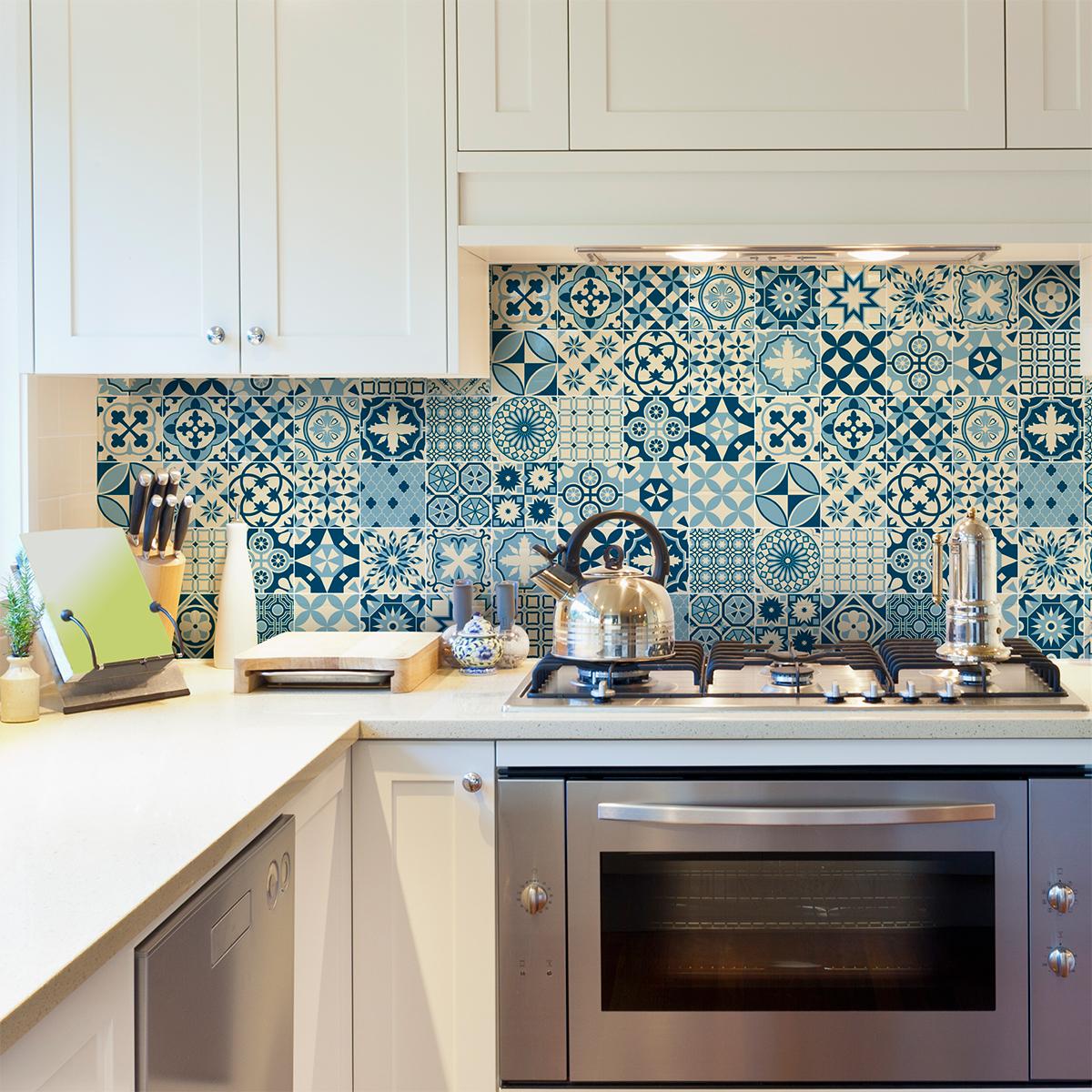 60 stickers carreaux de ciment azulejos riana cuisine for Stickers cuisine carreaux de ciment