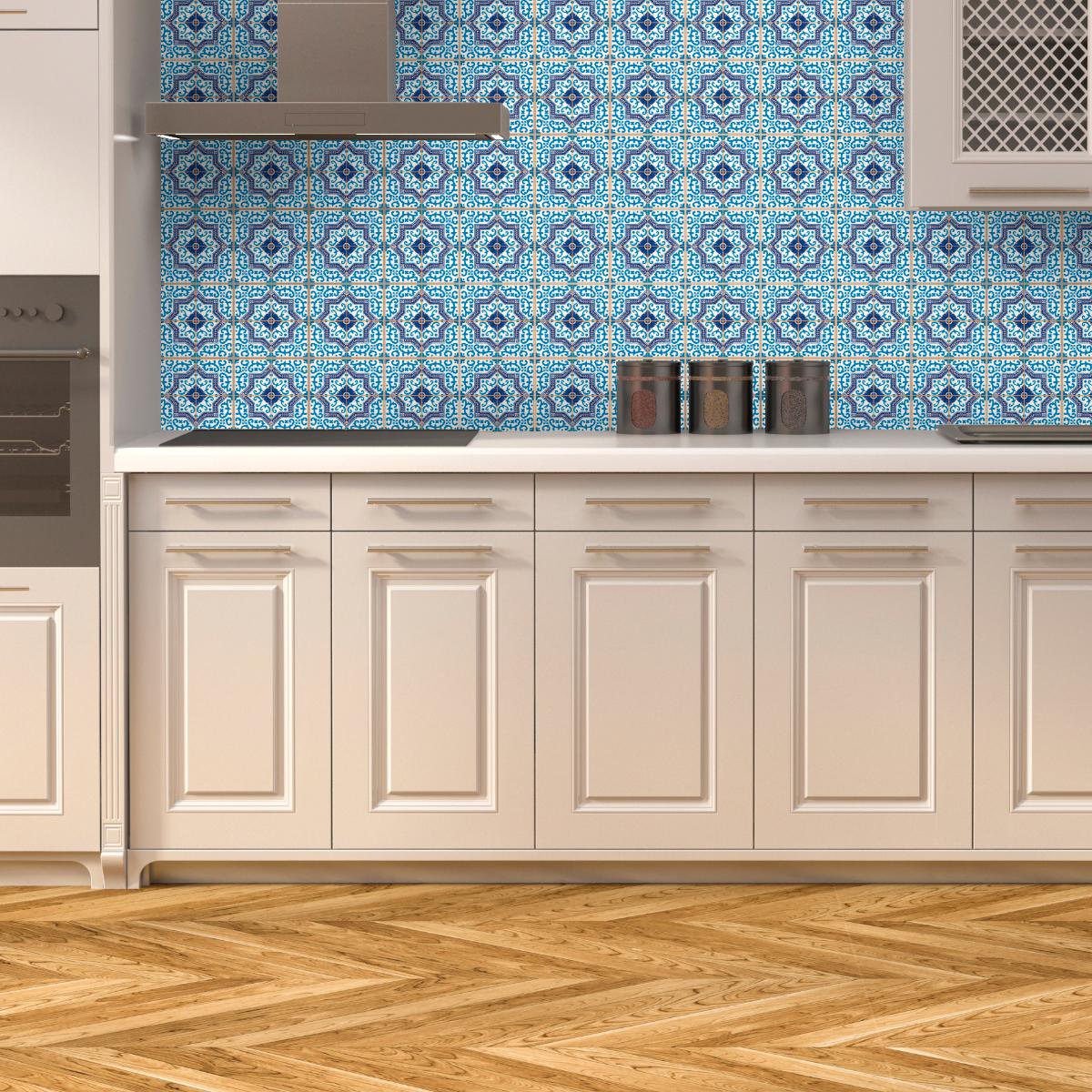60 stickers carreaux de ciment azulejos romero salle de. Black Bedroom Furniture Sets. Home Design Ideas