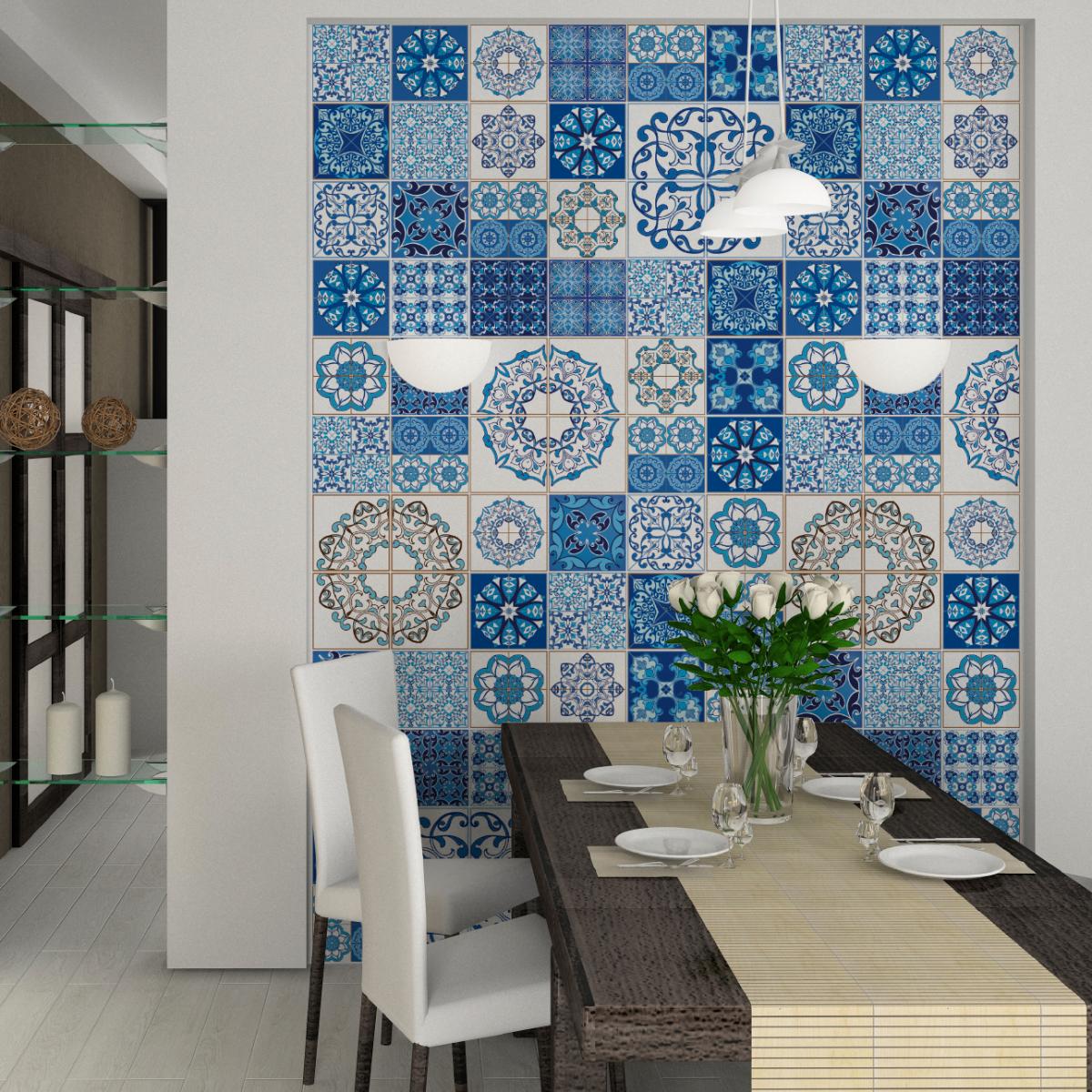 60 stickers carreaux de ciment azulejos serafina salle. Black Bedroom Furniture Sets. Home Design Ideas