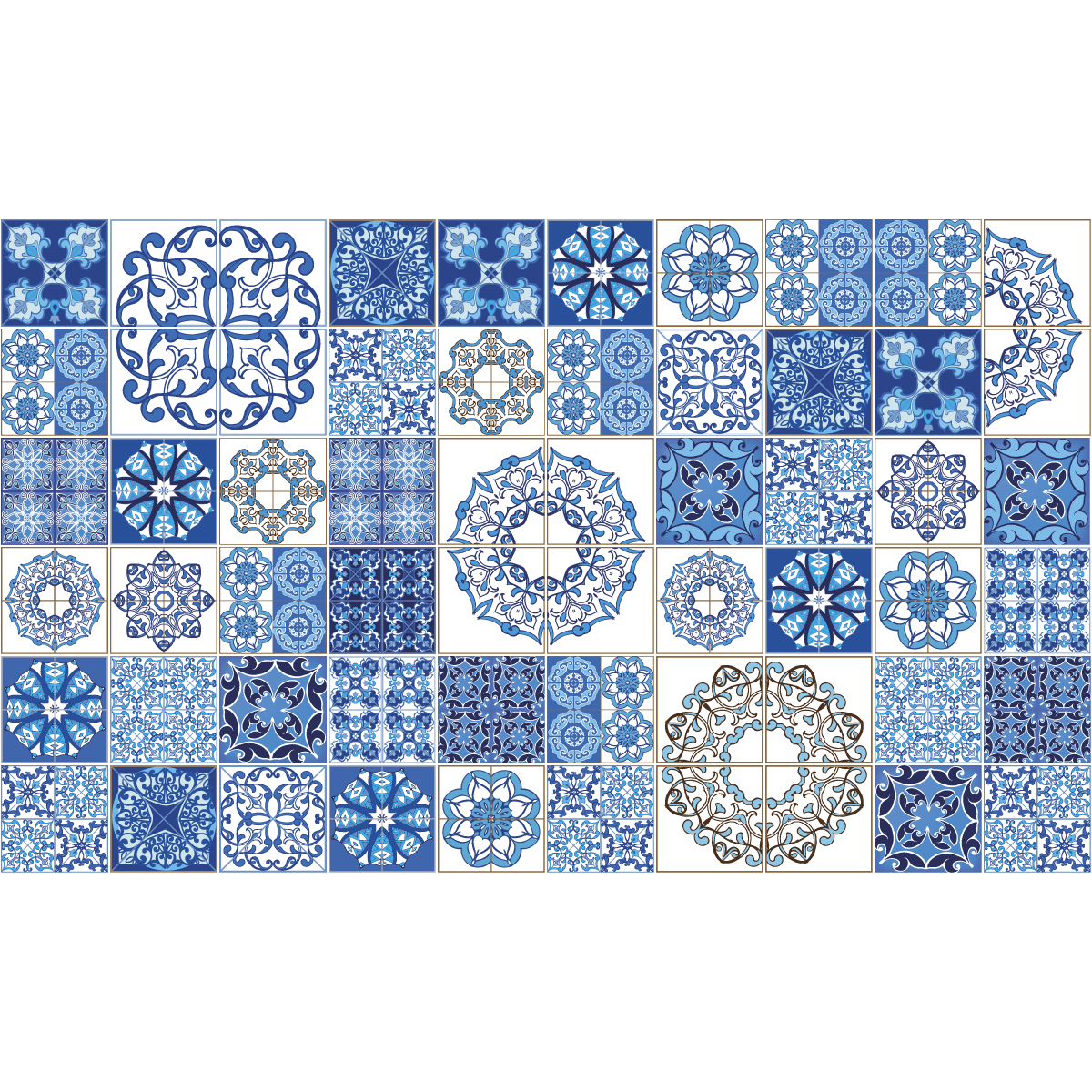 60 stickers carreaux de ciment azulejos serafina salle de bain mur salle de bain ambiance. Black Bedroom Furniture Sets. Home Design Ideas