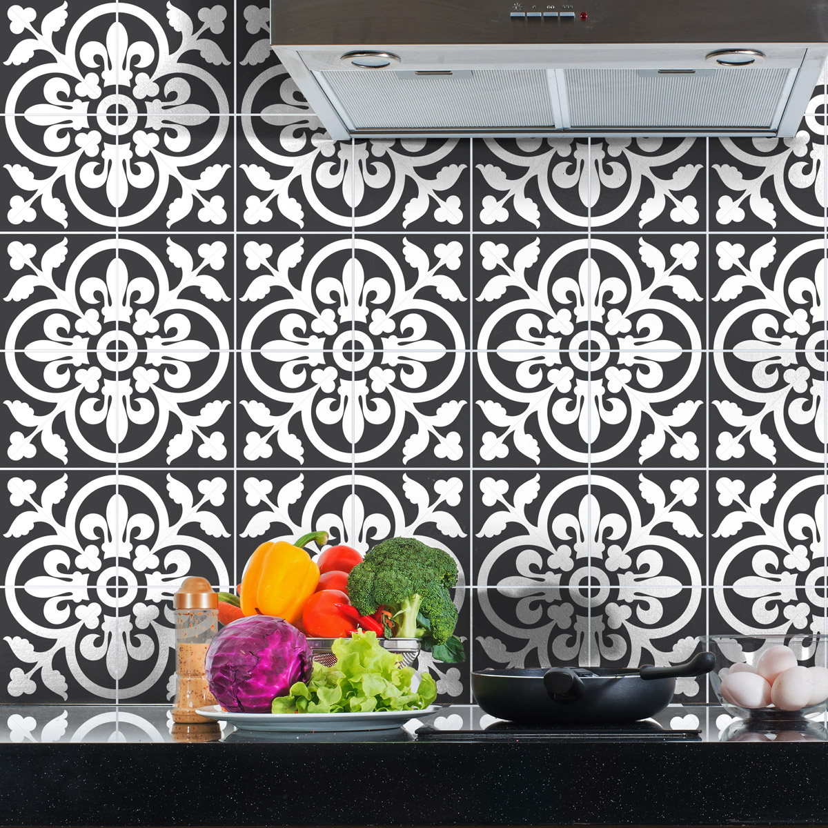 60 stickers carreaux de ciment classiques nuance de gris. Black Bedroom Furniture Sets. Home Design Ideas