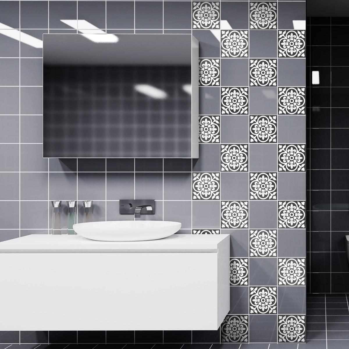 60 stickers carreaux de ciment classiques nuance de gris cuisine carrelages ambiance sticker. Black Bedroom Furniture Sets. Home Design Ideas