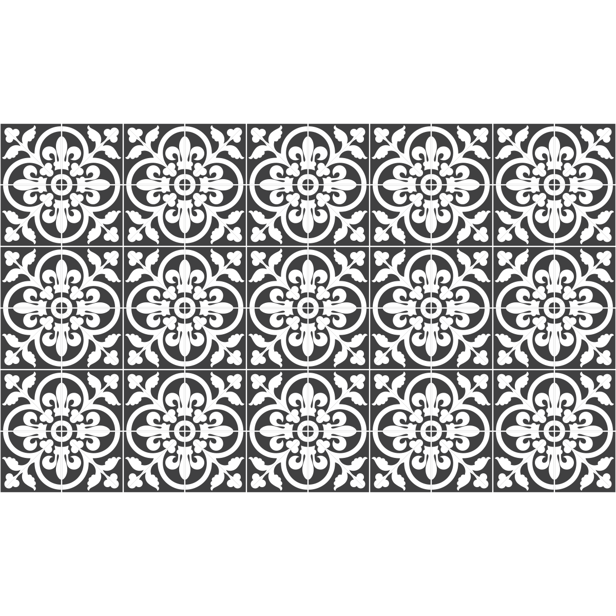 60 stickers carreaux de ciment classiques nuance de gris cuisine carrelages ambiance sticker - Stickers muraux carreaux de ciment ...