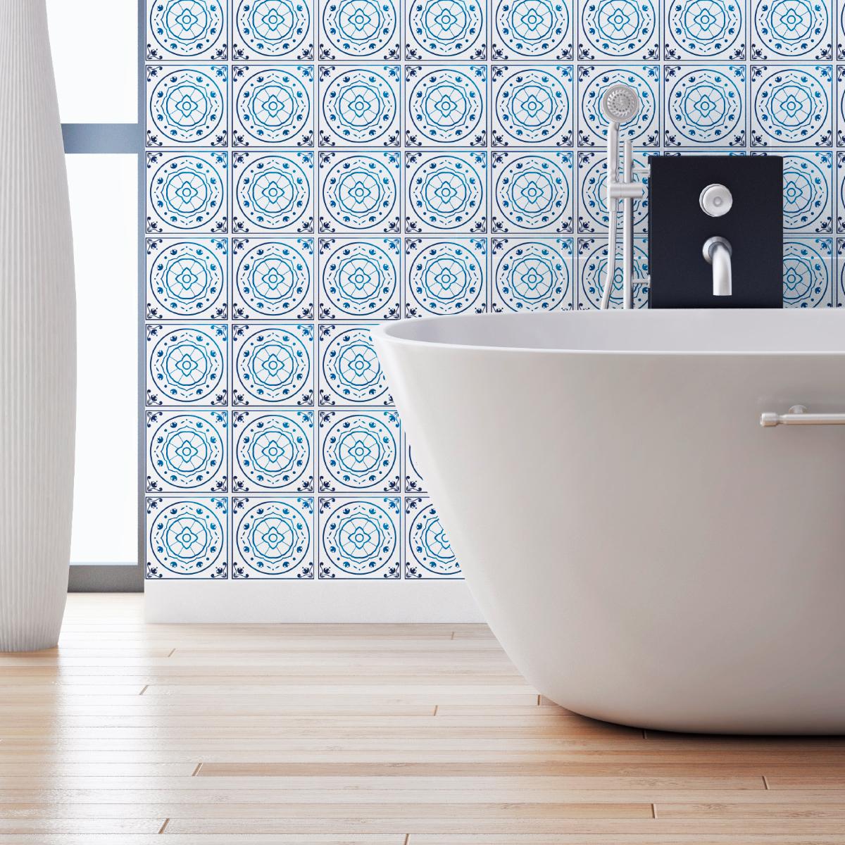 60 stickers carreaux de ciment delft eindhoven cuisine carrelages ambiance sticker. Black Bedroom Furniture Sets. Home Design Ideas