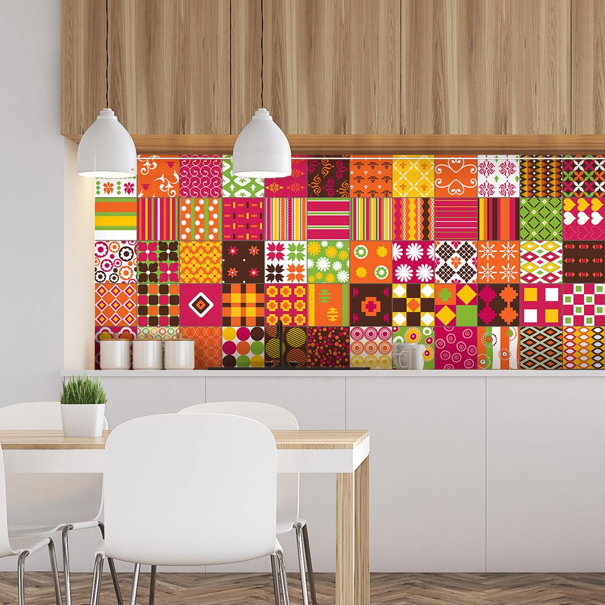 60 stickers carreaux de ciment ethnique nikko cuisine. Black Bedroom Furniture Sets. Home Design Ideas