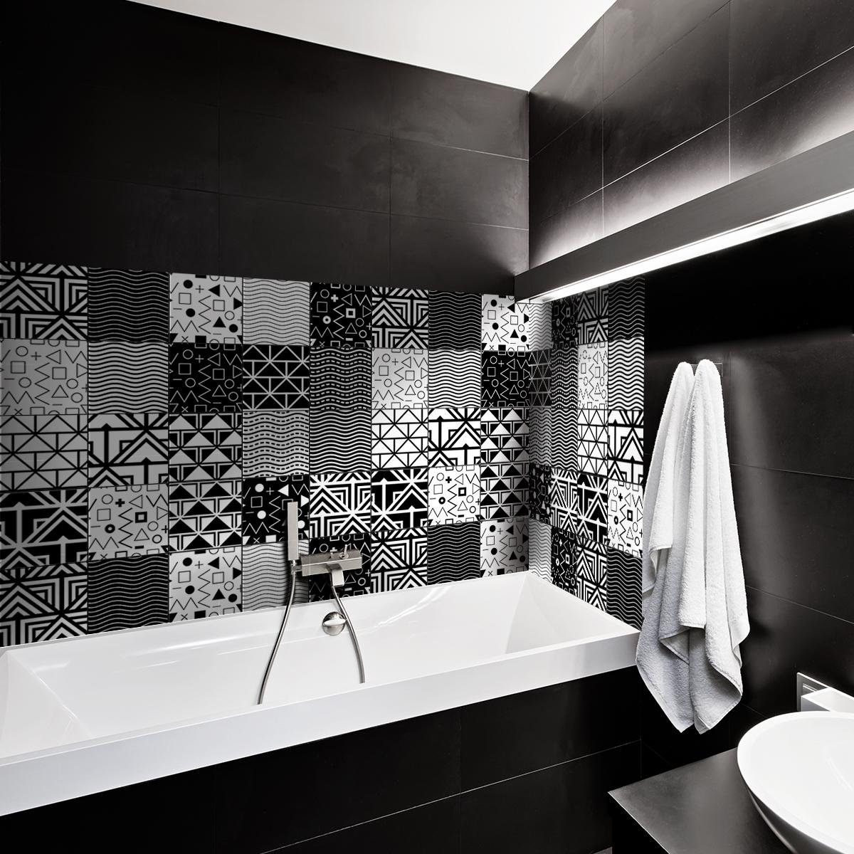 60 stickers carreaux de ciment ethnique osaka cuisine carrelages ambiance sticker. Black Bedroom Furniture Sets. Home Design Ideas