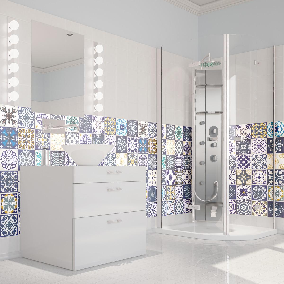 Salle De Bain Azulejos ~ 60 stickers carrelages azulejos cyprus salle de bain et wc salle