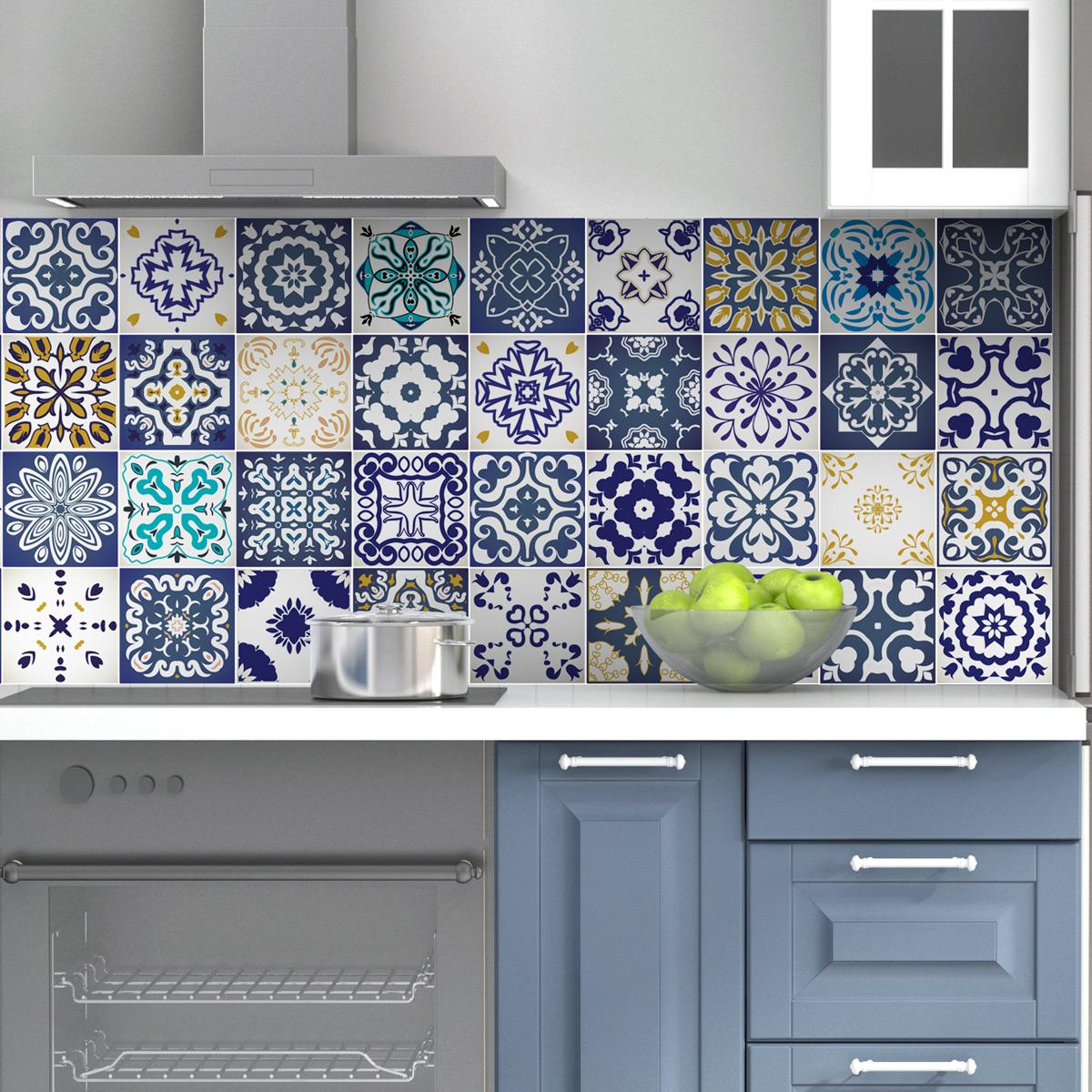 60 stickers carrelages azulejos cyprus salle de bain et. Black Bedroom Furniture Sets. Home Design Ideas