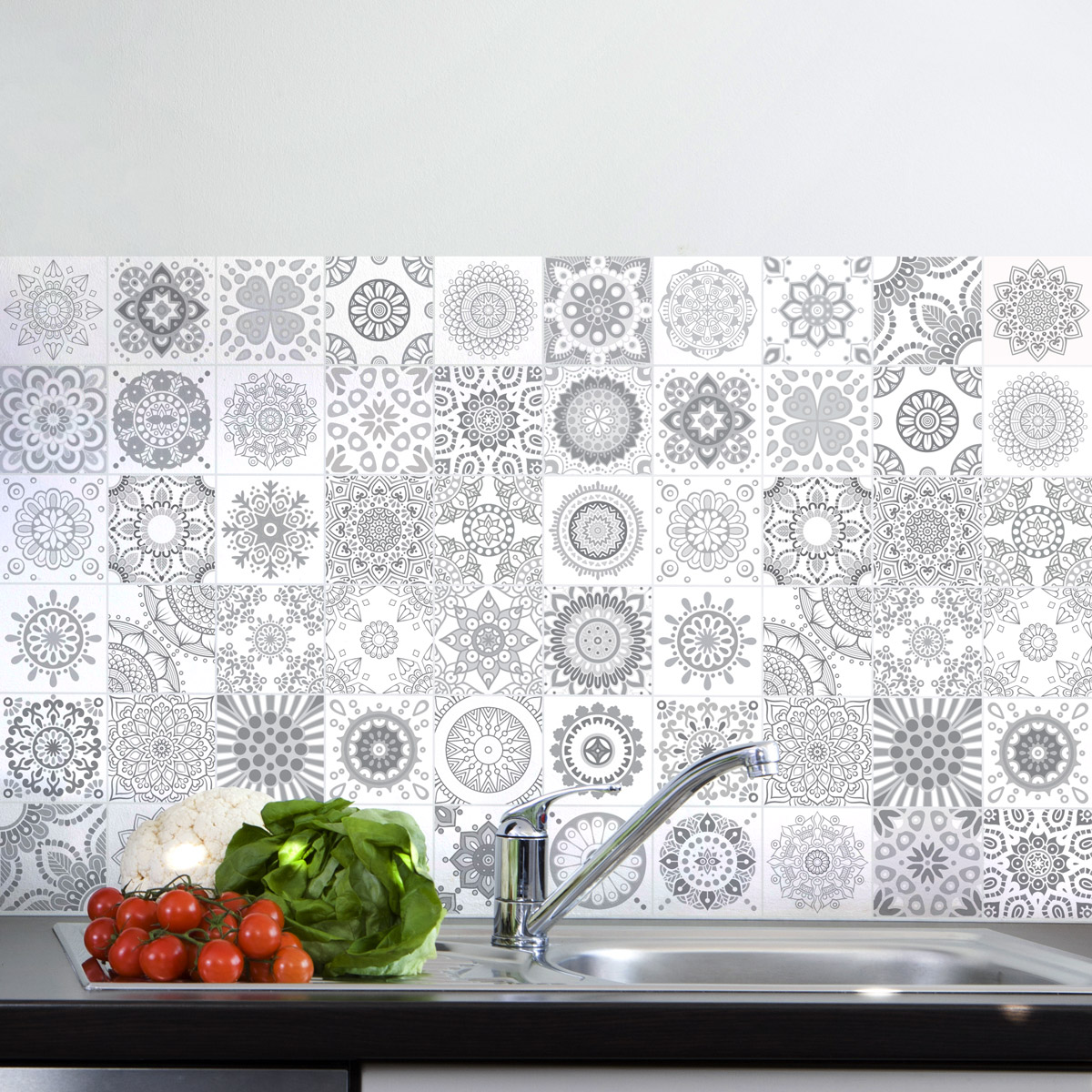 60 stickers carrelages azulejos design nuance de gris for Stickers carrelage cuisine 15x15