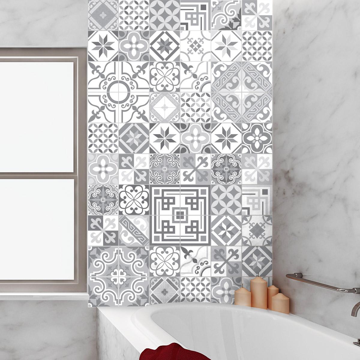 Carrelage Salle De Bain Irun ~ 60 stickers carrelages azulejos design vintage nuance de gris art