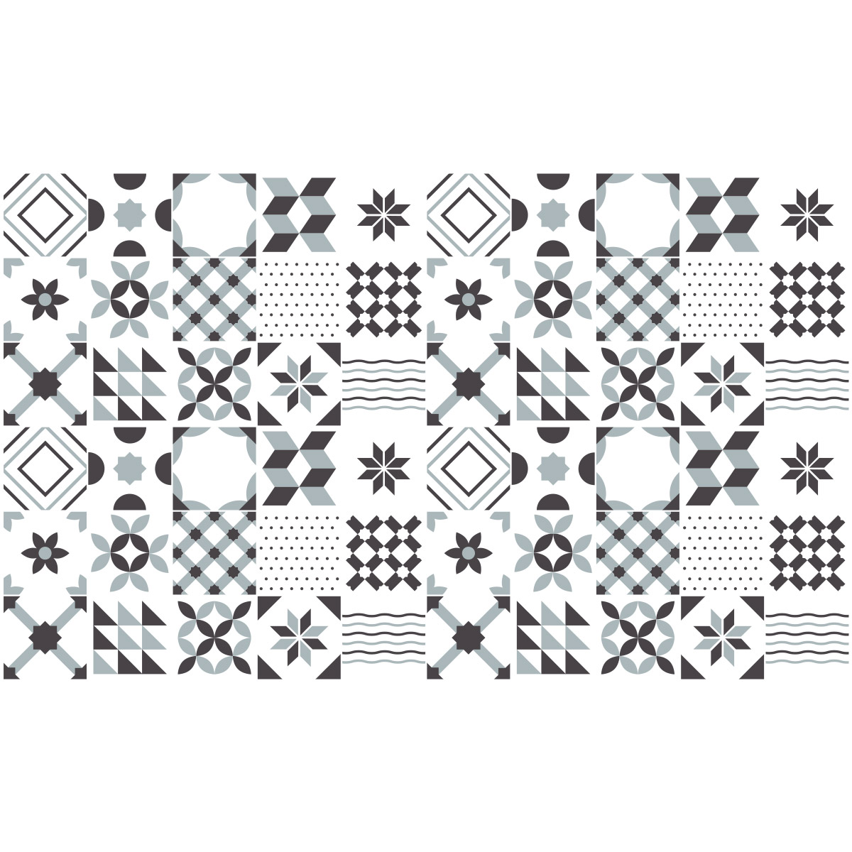 60 stickers carrelages azulejos g om triques nuance de gris art et design artistiques. Black Bedroom Furniture Sets. Home Design Ideas